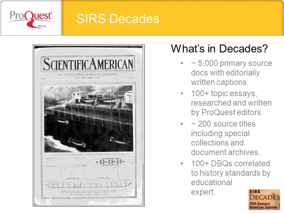 SIRS Decades ~ 5,000 primary source docs with editorially written captions.