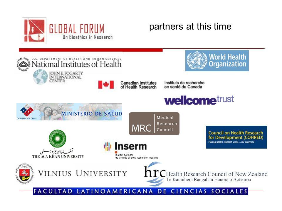 partners at this time Institut national de la santé et de la recherche médicale
