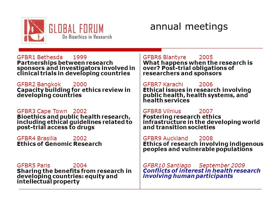 annual meetings GFBR1 Bethesda1999 Partnerships between research sponsors and investigators involved in clinical trials in developing countries GFBR6