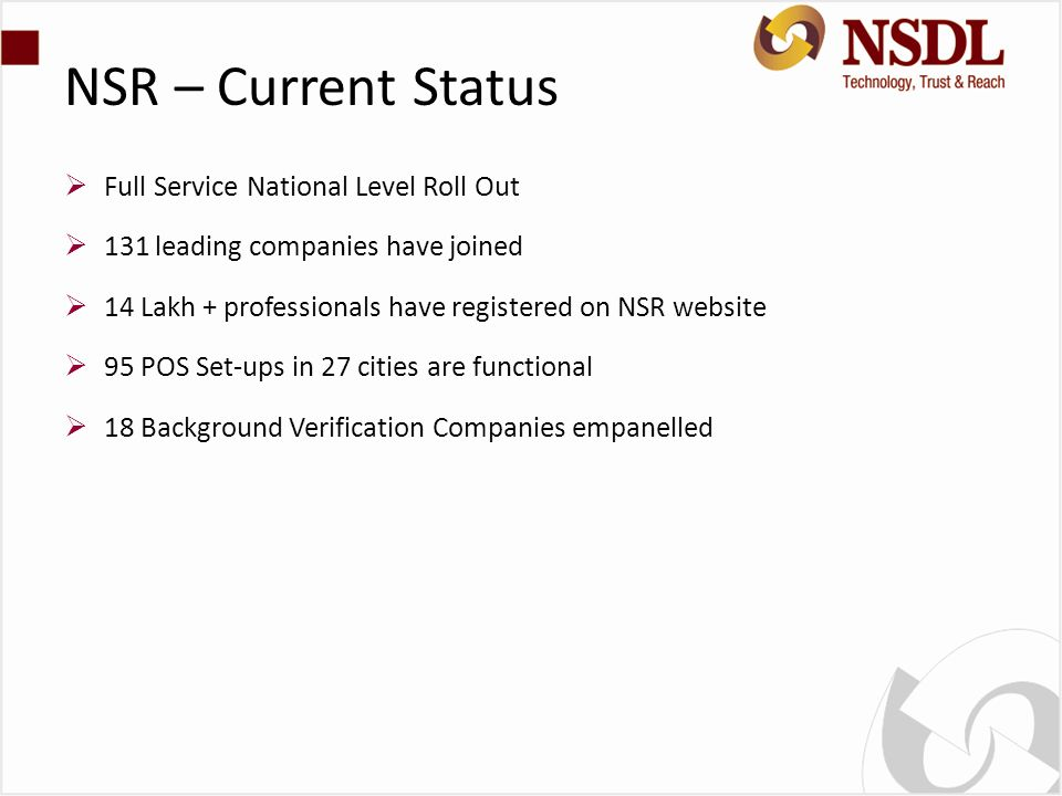 NSR – Current Status Full Service National Level Roll Out 131 leading companies have joined 14 Lakh + professionals have registered on NSR website 95