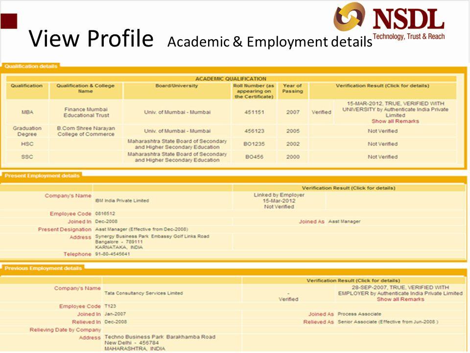 View Profile Academic & Employment details