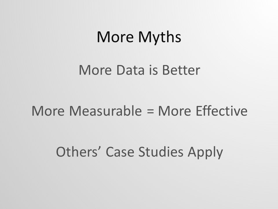 More Myths More Data is Better More Measurable = More Effective Others Case Studies Apply