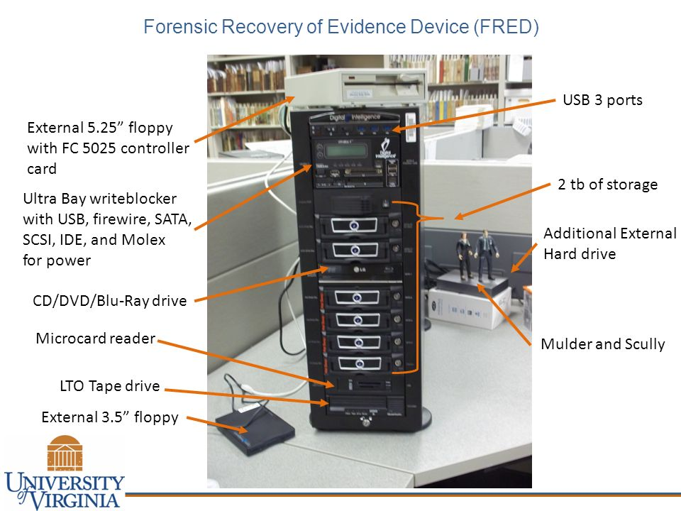 Forensic Recovery of Evidence Device (FRED) External 5.25 floppy with FC 5025 controller card External 3.5 floppy Ultra Bay writeblocker with USB, fir