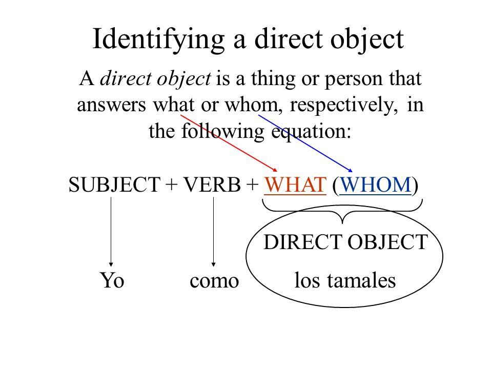 A direct object is a thing or person that answers what or whom, respectively, in the following equation: SUBJECT + VERB + WHAT (WHOM) DIRECT OBJECT Yo