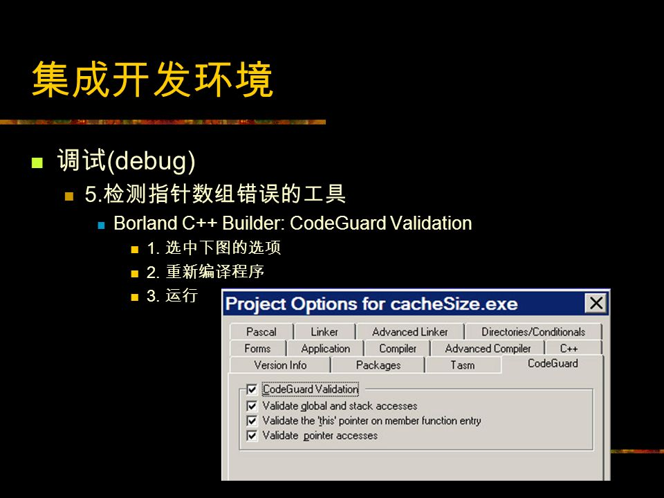 (debug) 5. Borland C++ Builder: CodeGuard Validation 1. 2. 3.