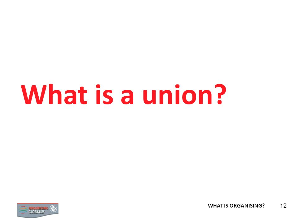 STRATEGY 12 What is a union? WHAT IS ORGANISING?