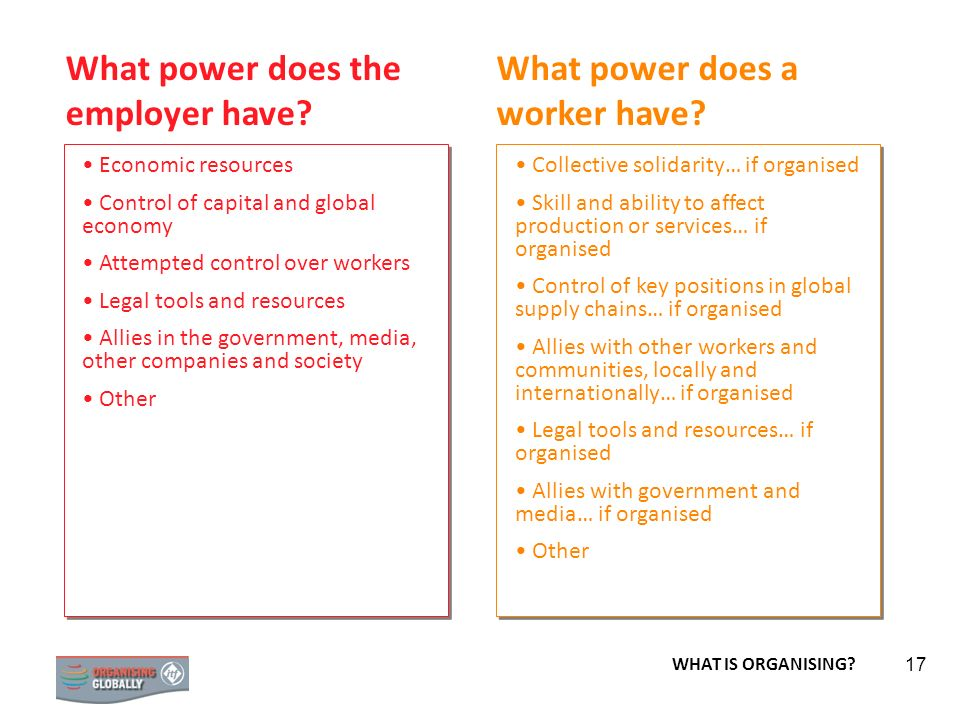 STRATEGY 17 What power does the employer have? What power does a worker have? Economic resources Control of capital and global economy Attempted contr