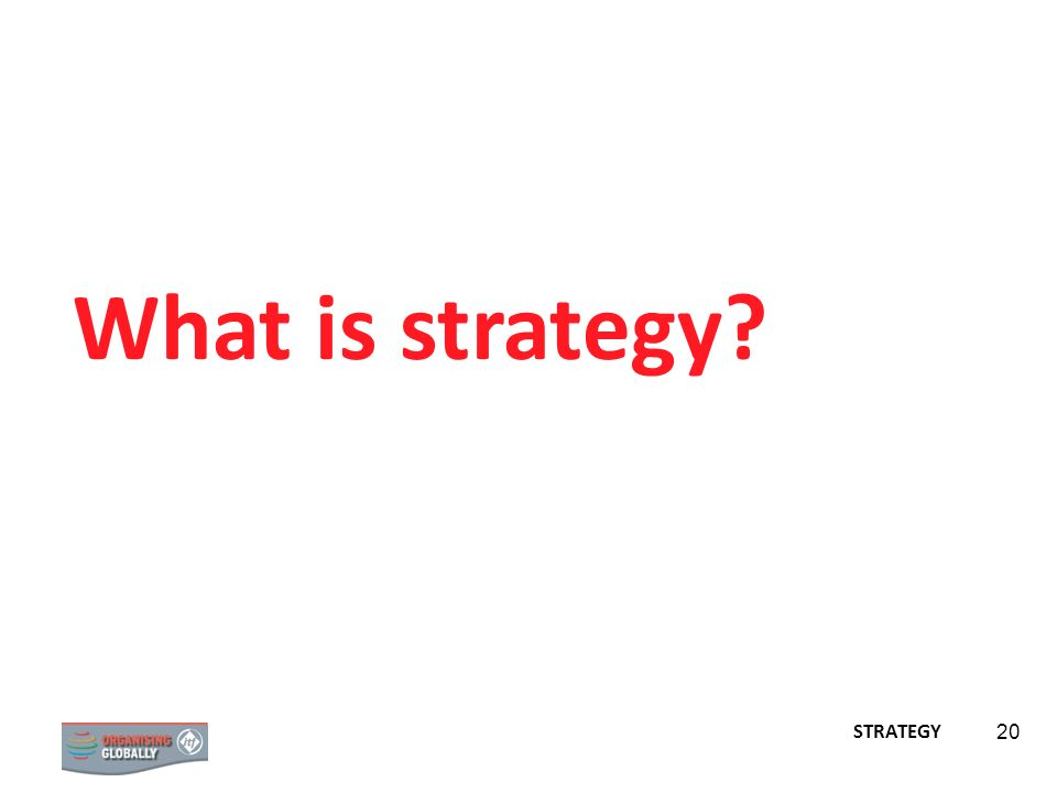 STRATEGY 20 What is strategy? STRATEGY