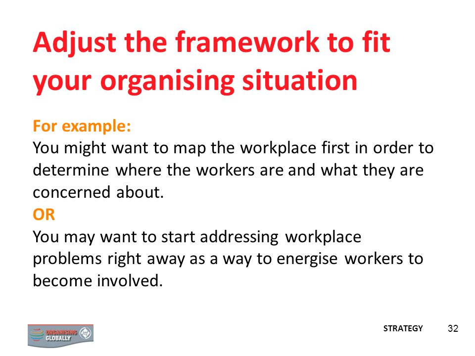 32 Adjust the framework to fit your organising situation For example: You might want to map the workplace first in order to determine where the worker