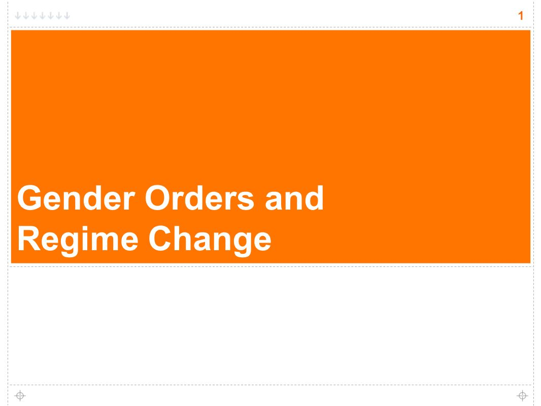 1 Gender Orders and Regime Change 1