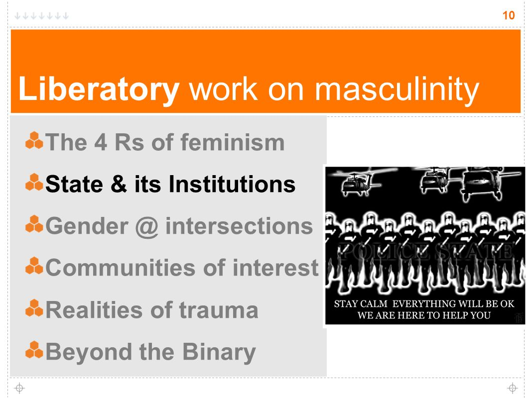 10 Liberatory work on masculinity The 4 Rs of feminism State & its Institutions Gender @ intersections Communities of interest Realities of trauma Beyond the Binary 10
