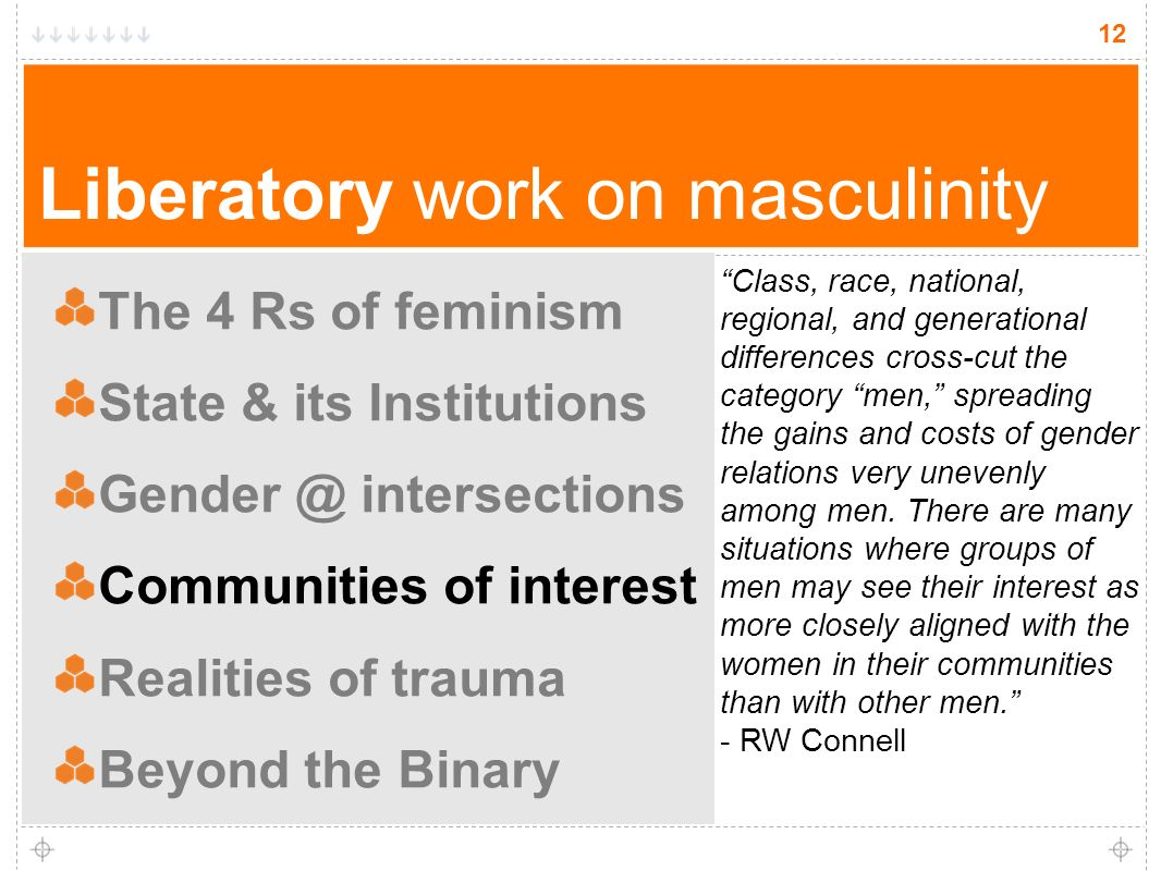 12 Liberatory work on masculinity The 4 Rs of feminism State & its Institutions Gender @ intersections Communities of interest Realities of trauma Beyond the Binary 12 Class, race, national, regional, and generational differences cross-cut the category men, spreading the gains and costs of gender relations very unevenly among men.