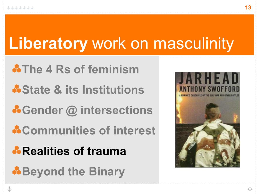 13 Liberatory work on masculinity The 4 Rs of feminism State & its Institutions Gender @ intersections Communities of interest Realities of trauma Beyond the Binary 13