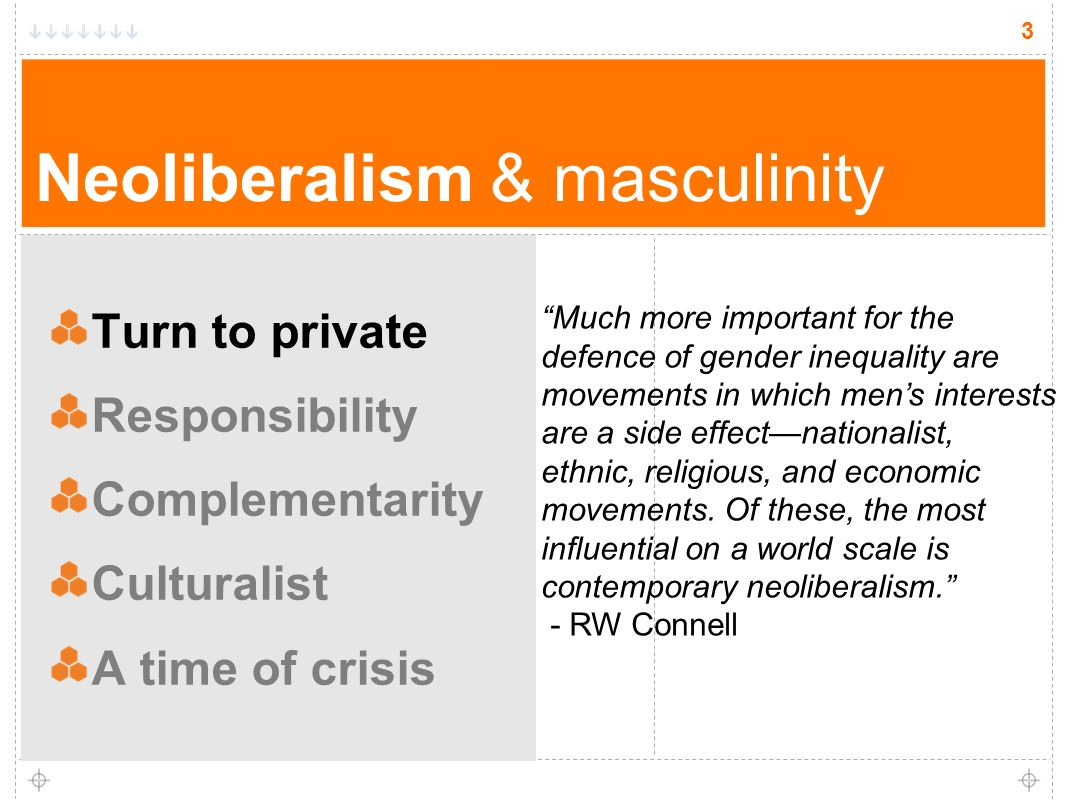 3 Neoliberalism & masculinity Turn to private Responsibility Complementarity Culturalist A time of crisis 3 Much more important for the defence of gender inequality are movements in which mens interests are a side effectnationalist, ethnic, religious, and economic movements.