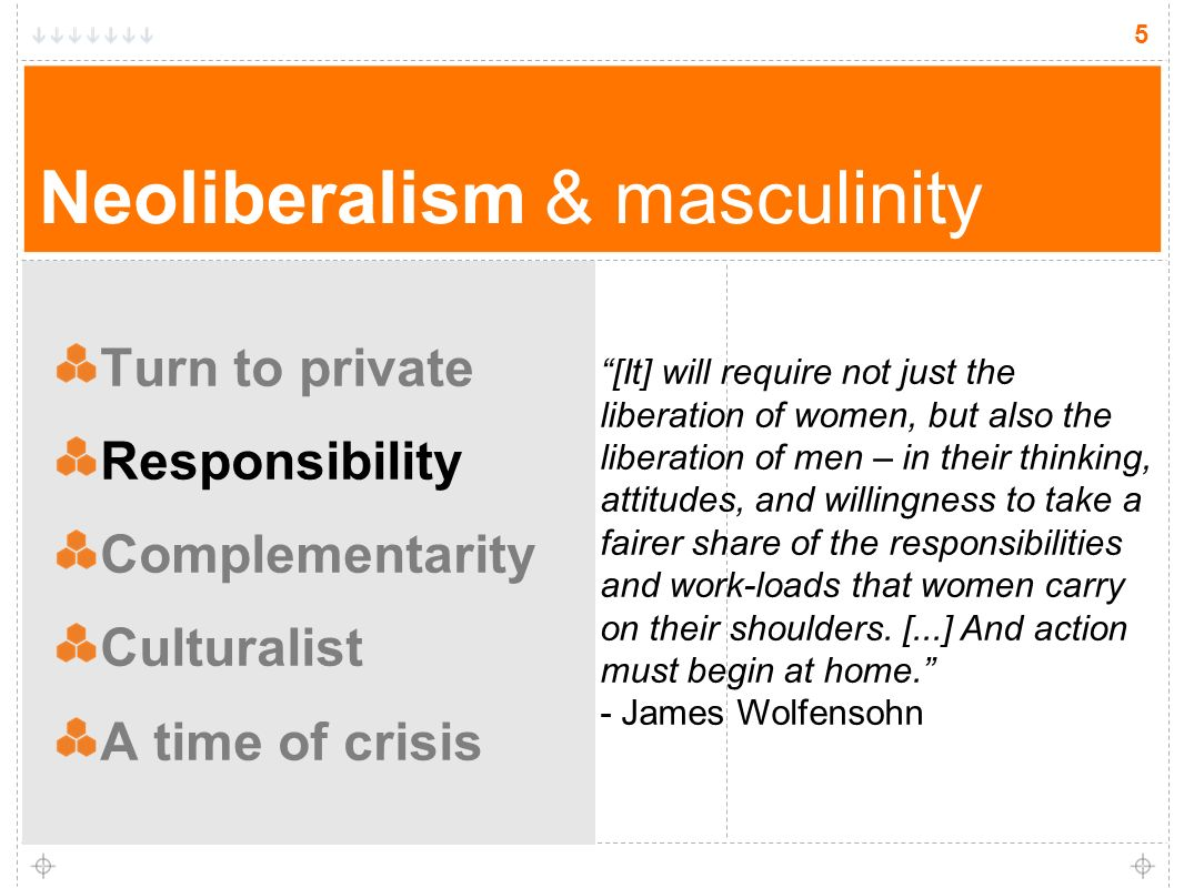 5 Neoliberalism & masculinity Turn to private Responsibility Complementarity Culturalist A time of crisis 5 [It] will require not just the liberation of women, but also the liberation of men – in their thinking, attitudes, and willingness to take a fairer share of the responsibilities and work-loads that women carry on their shoulders.