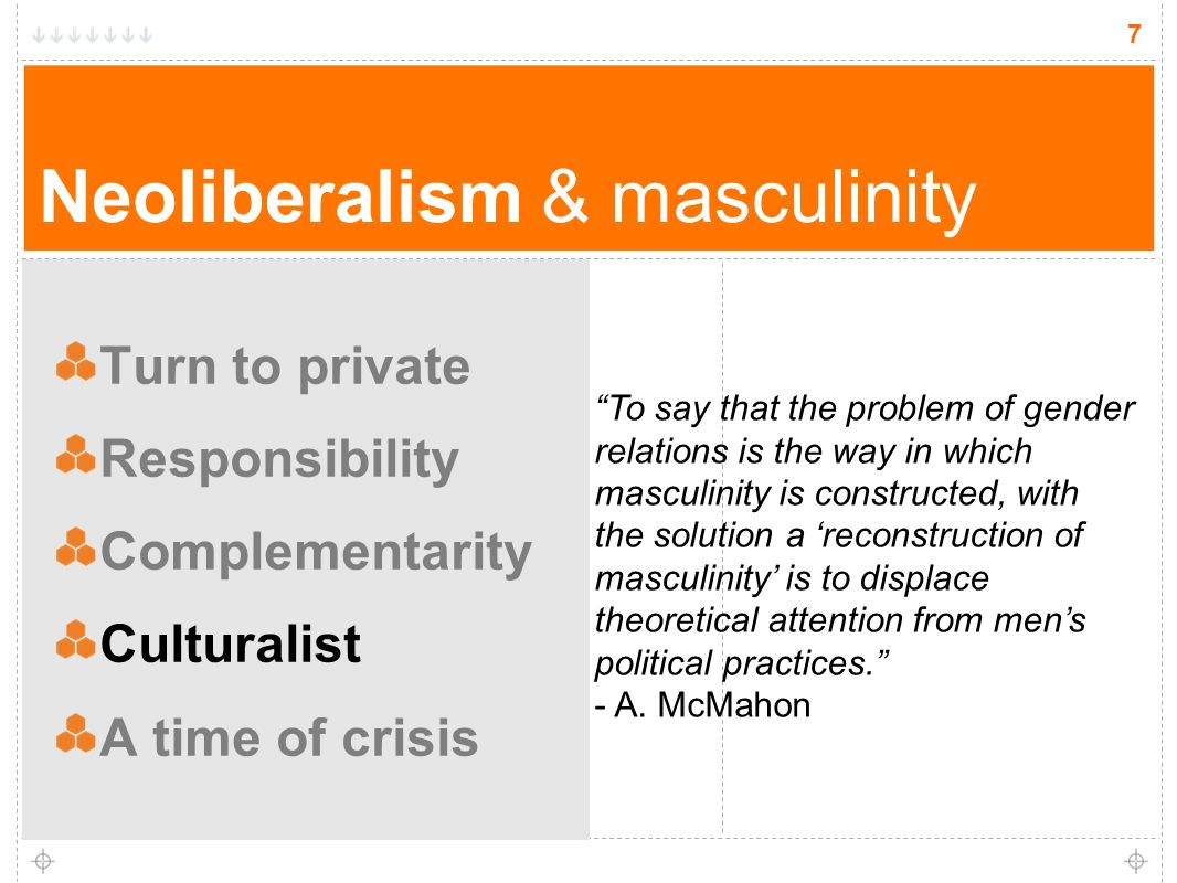 7 Neoliberalism & masculinity Turn to private Responsibility Complementarity Culturalist A time of crisis 7 To say that the problem of gender relations is the way in which masculinity is constructed, with the solution a reconstruction of masculinity is to displace theoretical attention from mens political practices.