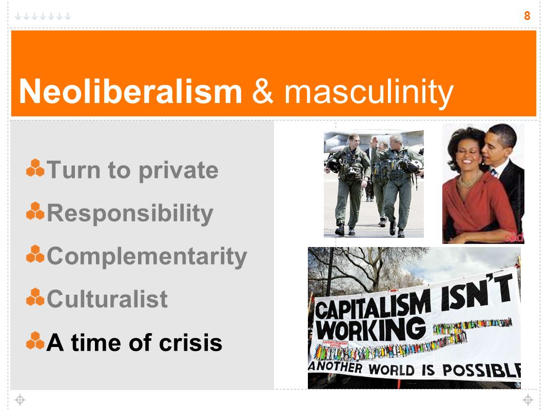 8 Neoliberalism & masculinity Turn to private Responsibility Complementarity Culturalist A time of crisis 8