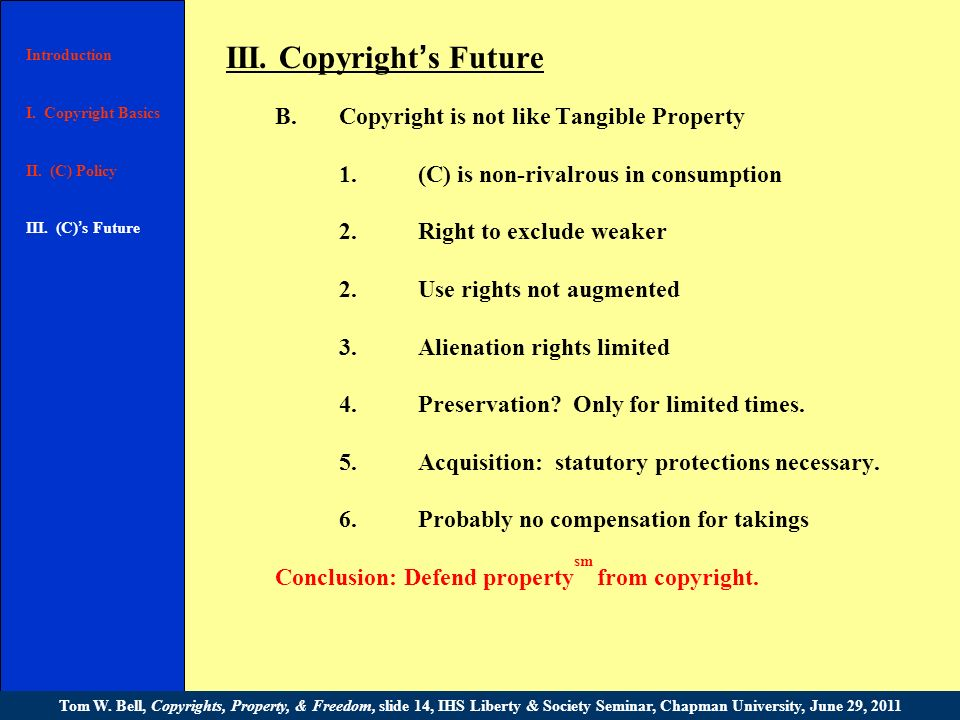 III. Copyright s Future A.Natural right or statutory privilege.