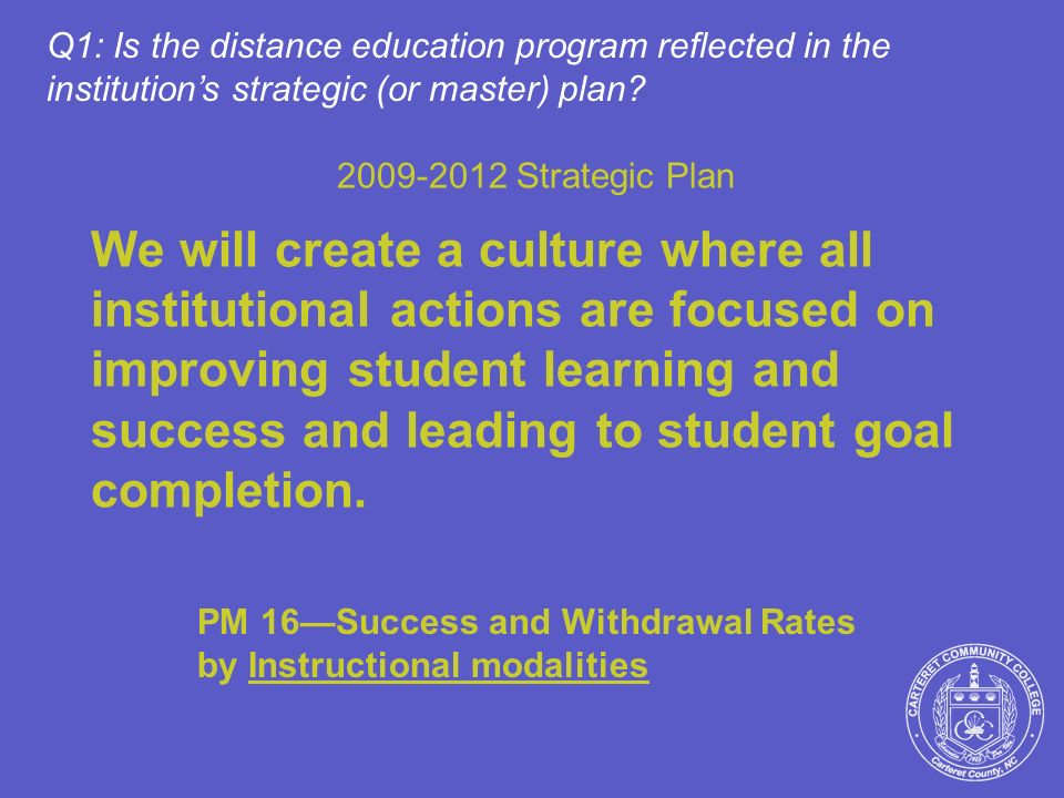 2009-2012 Strategic Plan We will create a culture where all institutional actions are focused on improving student learning and success and leading to