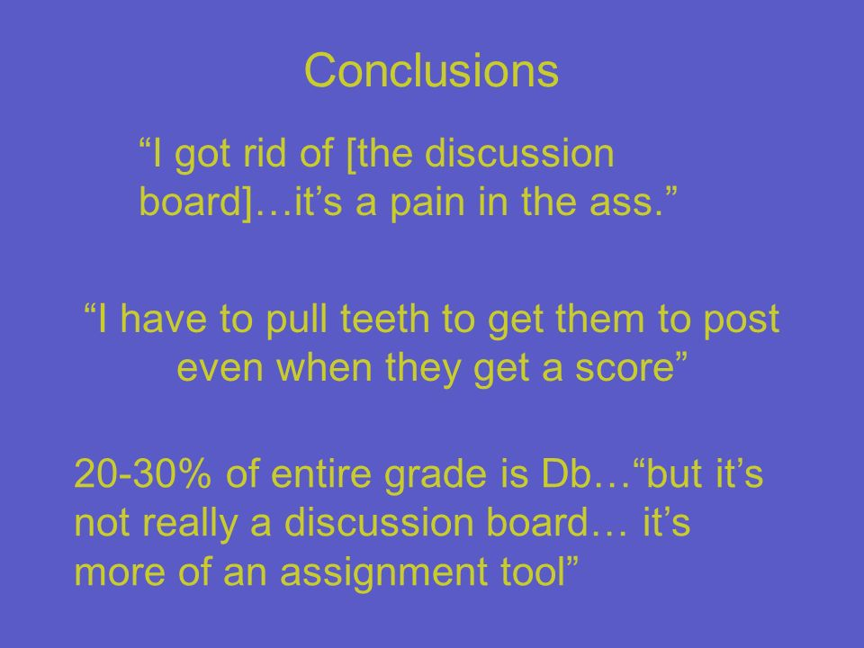 Conclusions I got rid of [the discussion board]…its a pain in the ass. I have to pull teeth to get them to post even when they get a score 20-30% of e
