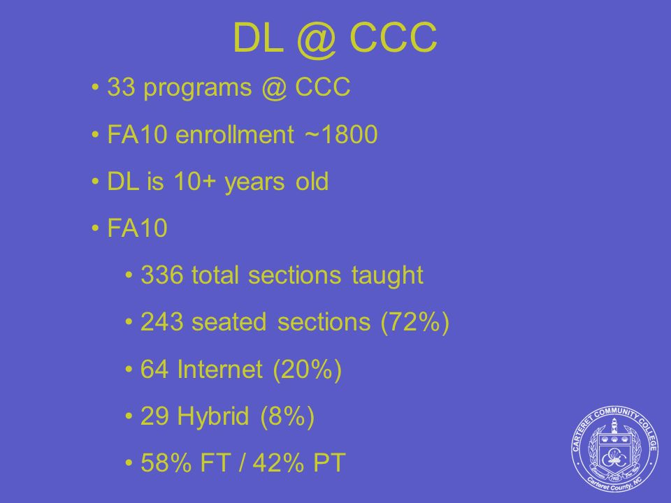 DL @ CCC 33 programs @ CCC FA10 enrollment ~1800 DL is 10+ years old FA10 336 total sections taught 243 seated sections (72%) 64 Internet (20%) 29 Hyb