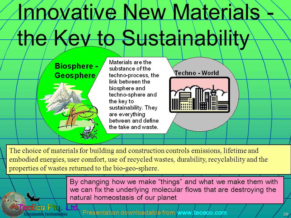 Presentation downloadable from www.tececo.com 20 Innovative New Materials - the Key to Sustainability By changing how we make things and what we make