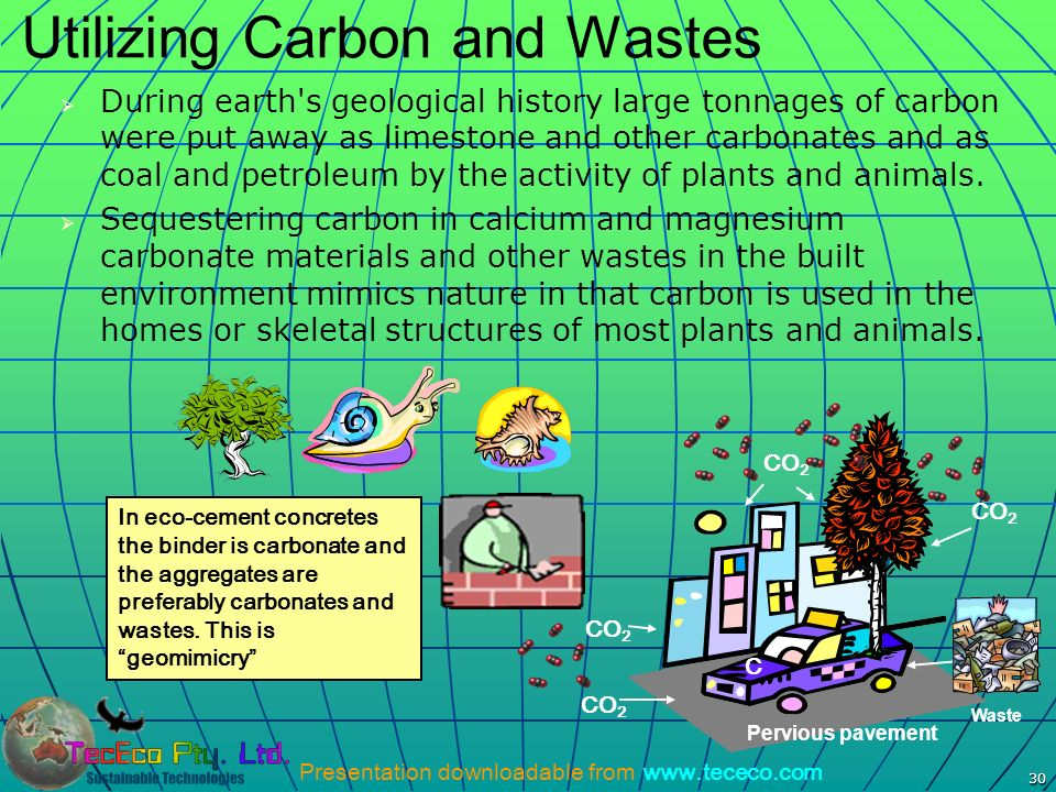 Presentation downloadable from www.tececo.com 30 Utilizing Carbon and Wastes During earth's geological history large tonnages of carbon were put away