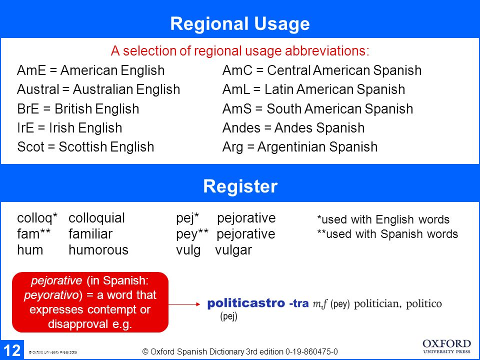 Regional Usage 12 Register © Oxford Spanish Dictionary 3rd edition 0-19-860475-0 © Oxford University Press 2005 colloq* colloquial pej* pejorative fam