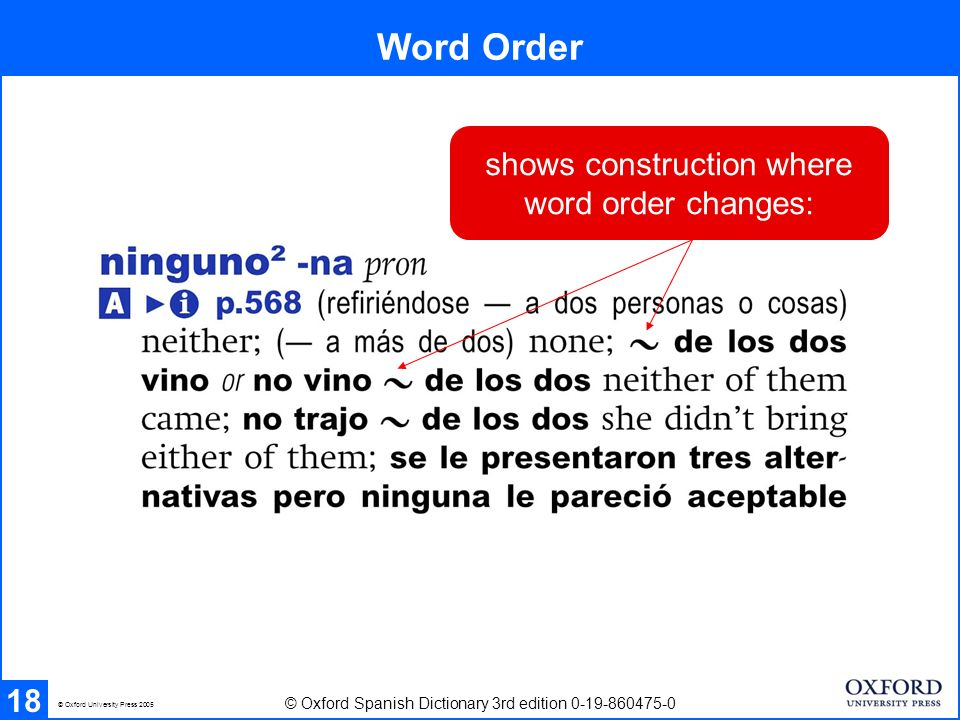 Word Order 18 © Oxford Spanish Dictionary 3rd edition 0-19-860475-0 © Oxford University Press 2005 shows construction where word order changes: