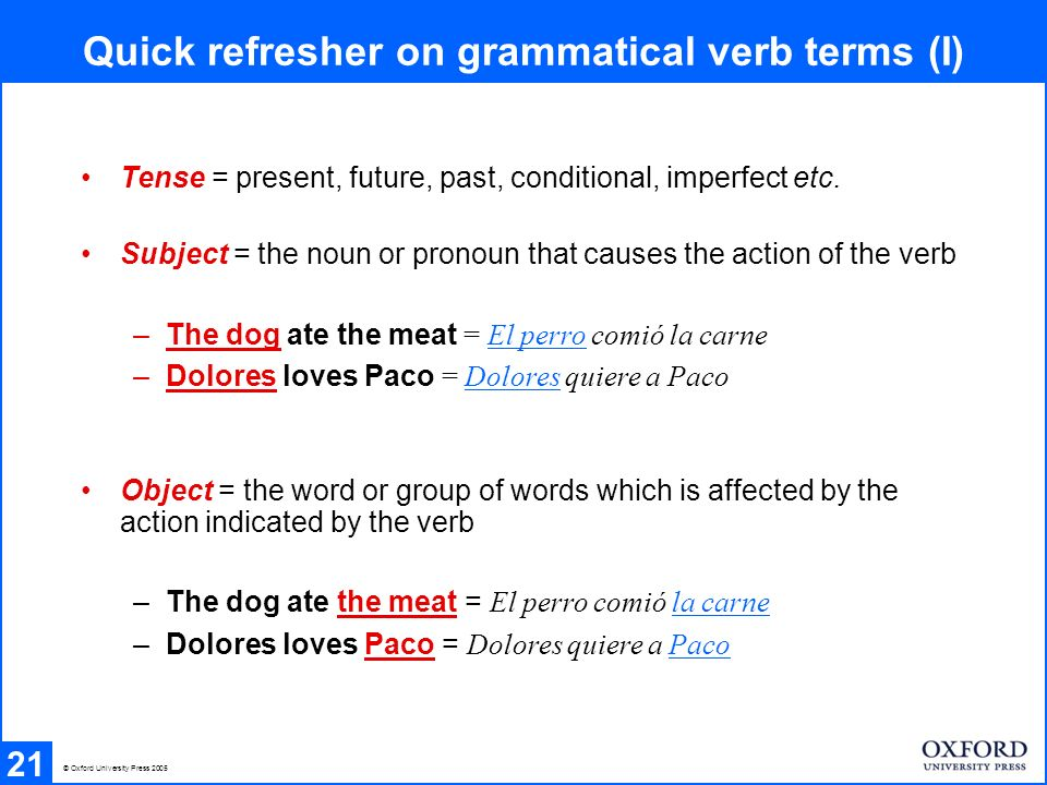 Quick refresher on grammatical verb terms (I) 21 Tense = present, future, past, conditional, imperfect etc. Subject = the noun or pronoun that causes