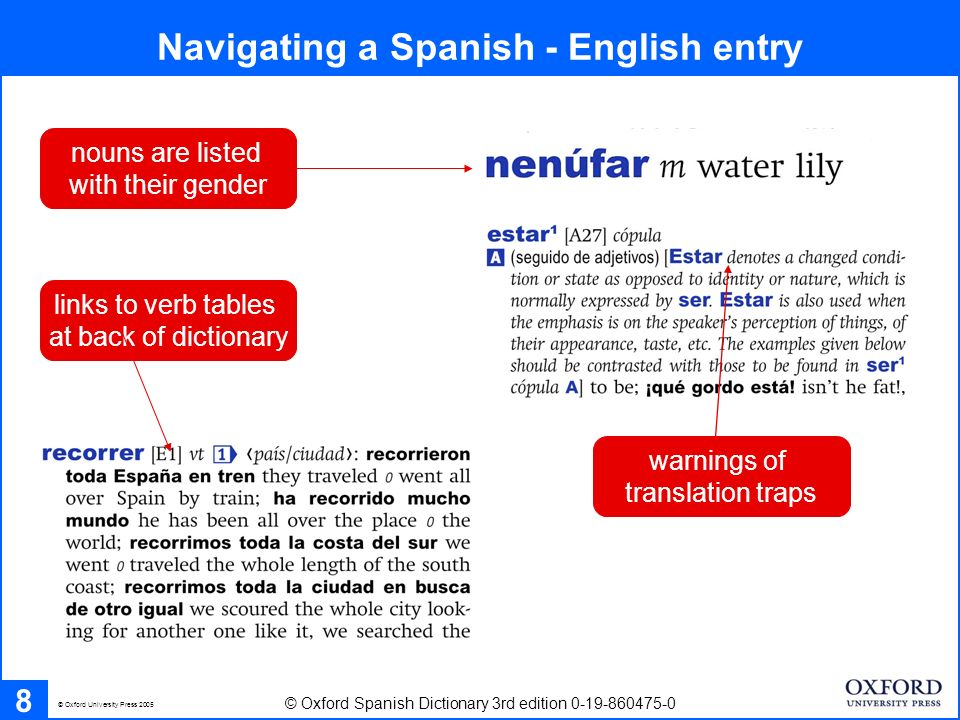 Navigating a Spanish - English entry 8 © Oxford Spanish Dictionary 3rd edition 0-19-860475-0 © Oxford University Press 2005 nouns are listed with thei