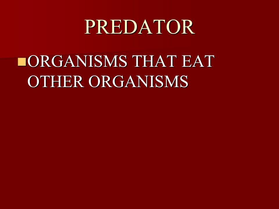 PREDATOR ORGANISMS THAT EAT OTHER ORGANISMS ORGANISMS THAT EAT OTHER ORGANISMS
