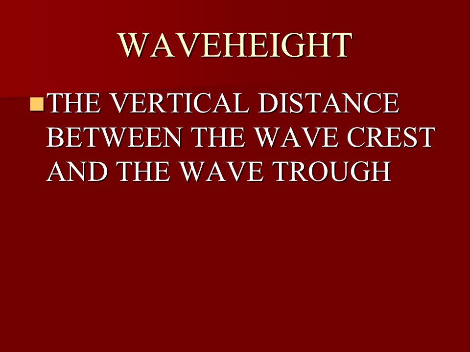 WAVEHEIGHT THE VERTICAL DISTANCE BETWEEN THE WAVE CREST AND THE WAVE TROUGH THE VERTICAL DISTANCE BETWEEN THE WAVE CREST AND THE WAVE TROUGH