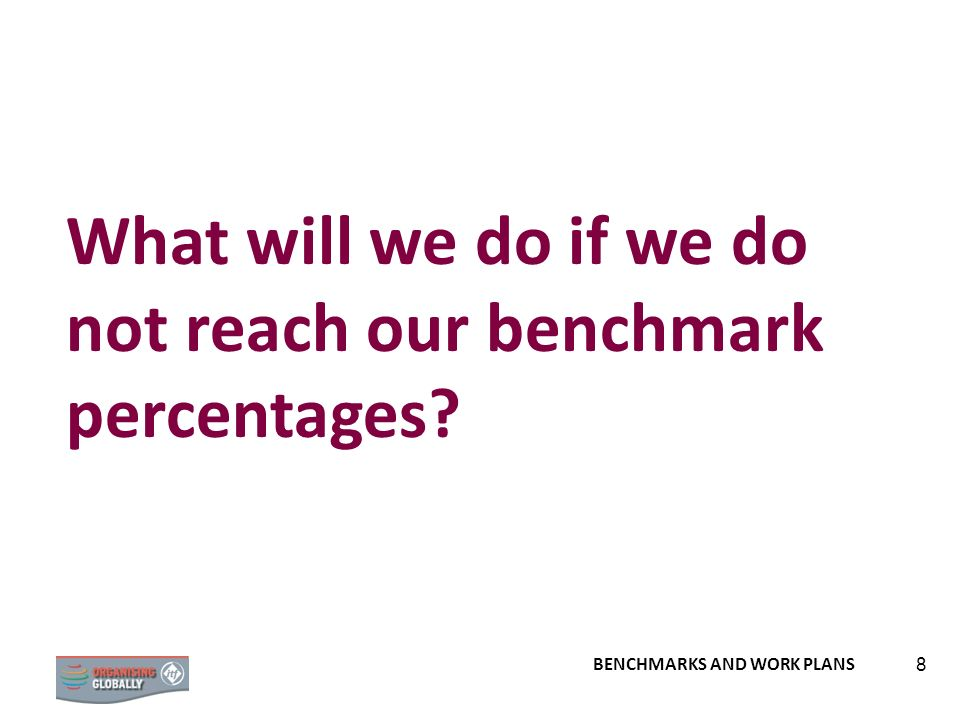 8 What will we do if we do not reach our benchmark percentages?