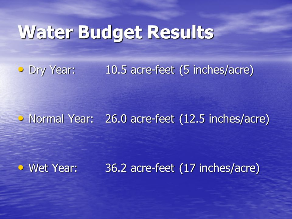Water Budget Results Dry Year:10.5 acre-feet (5 inches/acre) Dry Year:10.5 acre-feet (5 inches/acre) Normal Year:26.0 acre-feet (12.5 inches/acre) Normal Year:26.0 acre-feet (12.5 inches/acre) Wet Year:36.2 acre-feet (17 inches/acre) Wet Year:36.2 acre-feet (17 inches/acre)