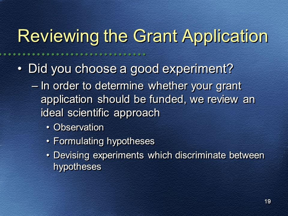19 Reviewing the Grant Application Did you choose a good experiment? –In order to determine whether your grant application should be funded, we review