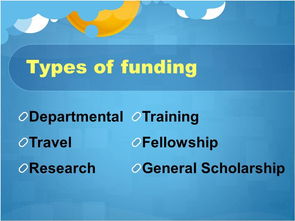 Types of funding Departmental Travel Research Training Fellowship General Scholarship