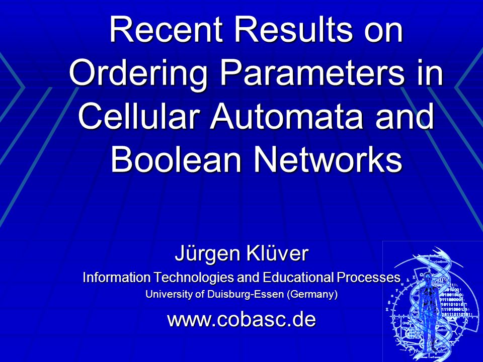 Ordering Parameters are numerical values that characterize the rule systems of cellular automata (CA) and of Boolean networks (BN); rules are on the one hand rules of transition and on the other hand topological rules – who interacts with whom Ordering Parameters