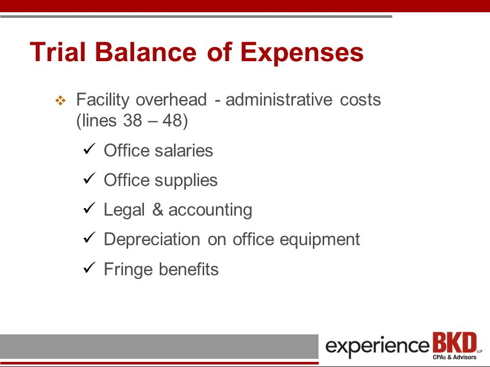 Trial Balance of Expenses Facility overhead - administrative costs (lines 38 – 48) Telephone, postage & other related office expenses Advertising (yellow pages versus recruitment versus promotional) Other