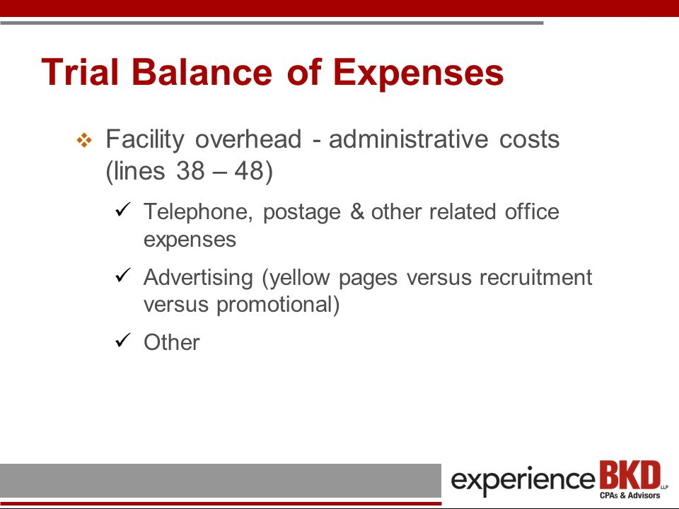 Trial Balance of Expenses Cost other than FQHC services (lines 51 – 56) Pharmacy Dental Laboratory Optometry Other