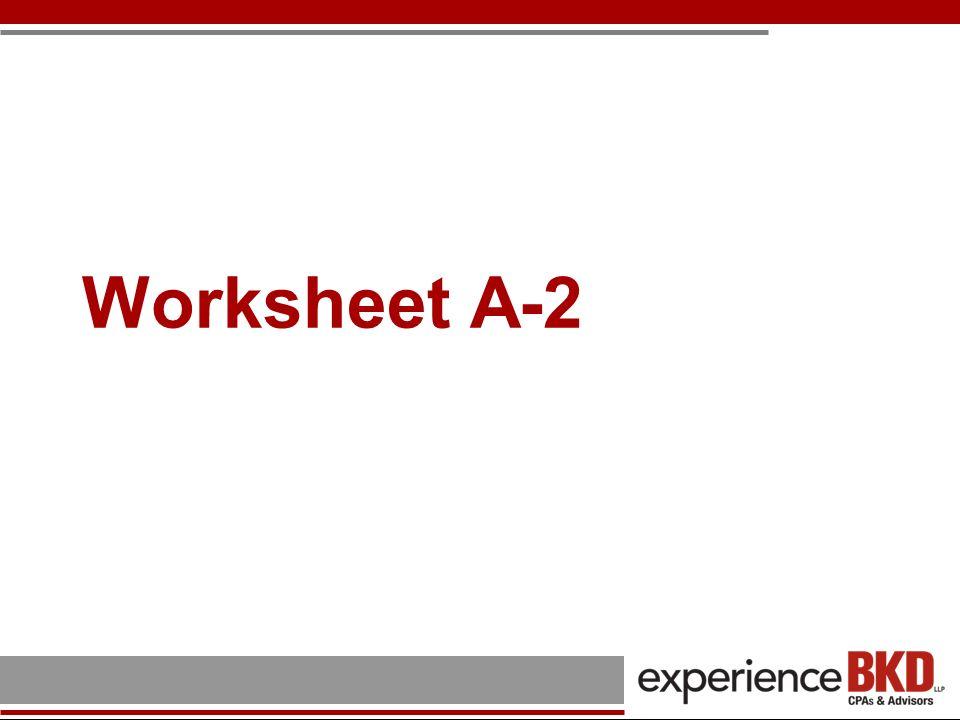 Worksheet A-2