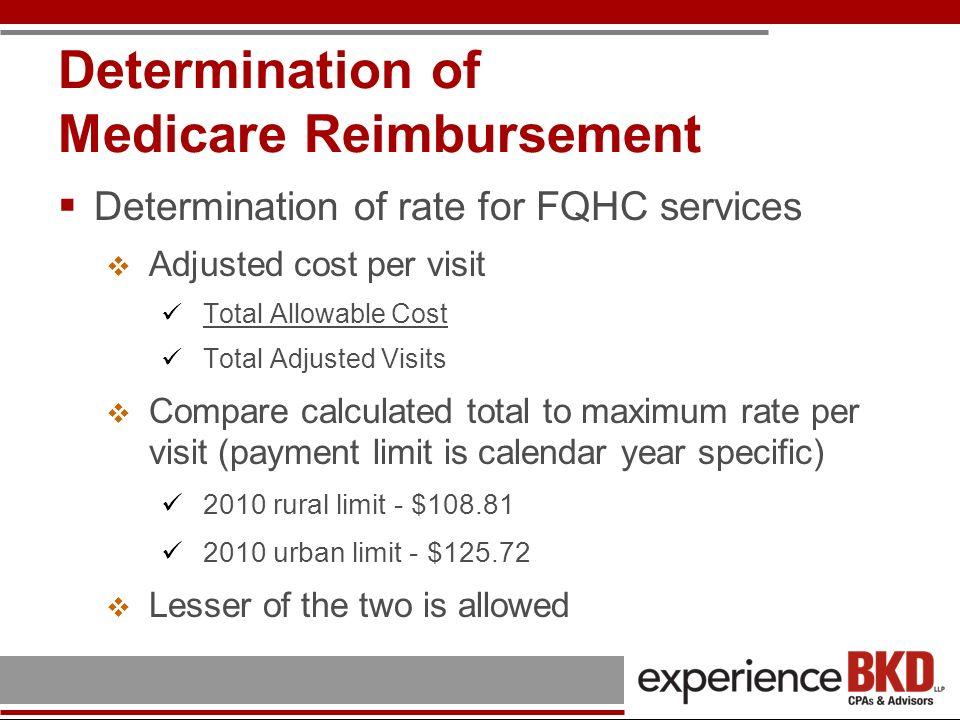 Determination of Medicare Reimbursement Determination of rate for FQHC services Adjusted cost per visit Total Allowable Cost Total Adjusted Visits Com