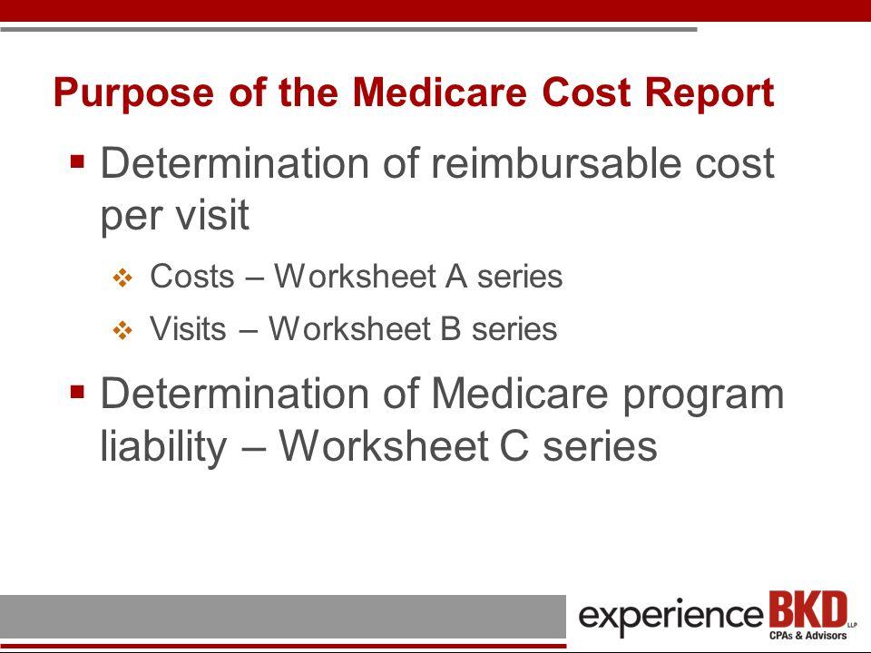 Purpose of the Medicare Cost Report Determination of reimbursable cost per visit Costs – Worksheet A series Visits – Worksheet B series Determination