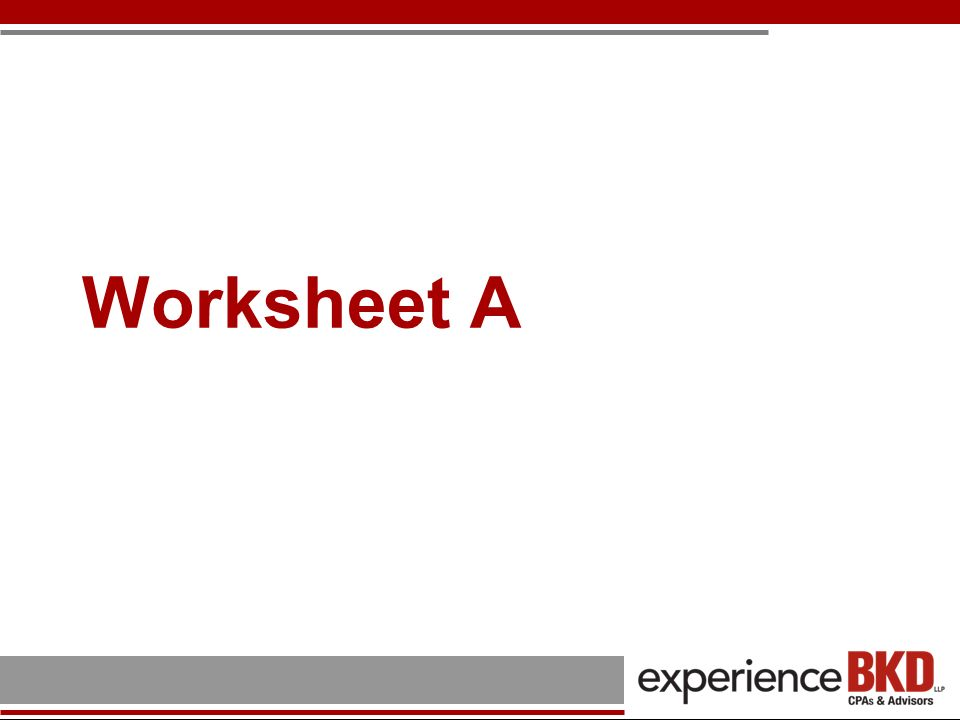 Worksheet A