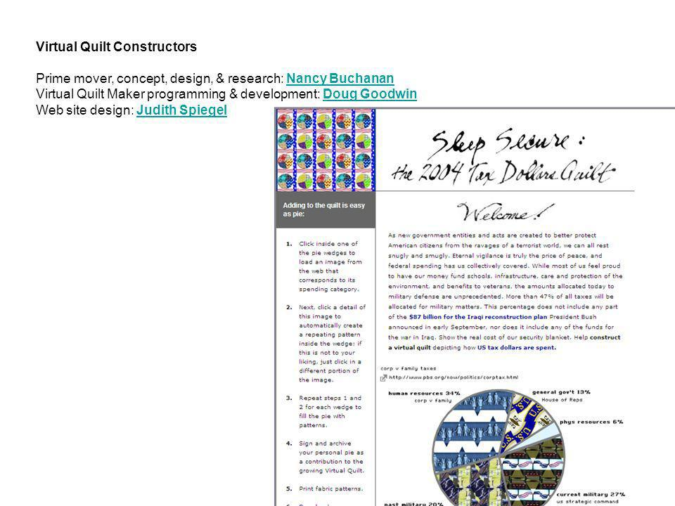 Virtual Quilt Constructors Prime mover, concept, design, & research: Nancy Buchanan Nancy Buchanan Virtual Quilt Maker programming & development: Doug
