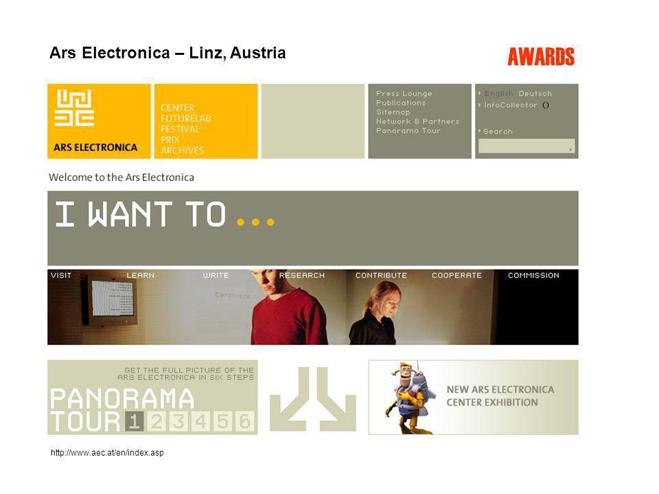 http://www.aec.at/en/index.asp AWARDS Ars Electronica – Linz, Austria