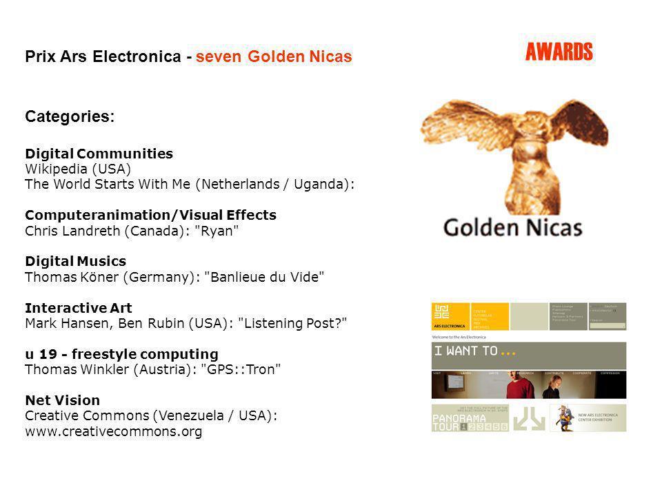 Prix Ars Electronica - seven Golden Nicas Categories: Digital Communities Wikipedia (USA) The World Starts With Me (Netherlands / Uganda): Computerani