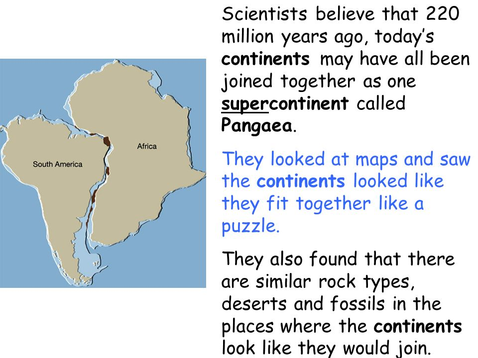 Scientists believe that 220 million years ago, todays continents may have all been joined together as one supercontinent called Pangaea. They looked a