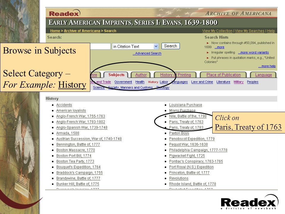 Browse in Subjects Select Category – For Example: History Click on Paris, Treaty of 1763