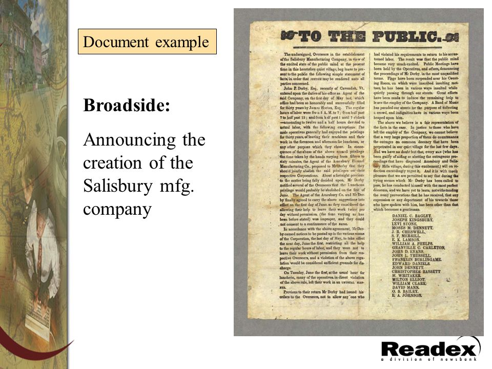 Broadside: Announcing the creation of the Salisbury mfg. company Document example
